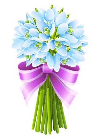 bouquet fleur: bouquet de fleurs au printemps perce-neige avec ruban rose Illustration