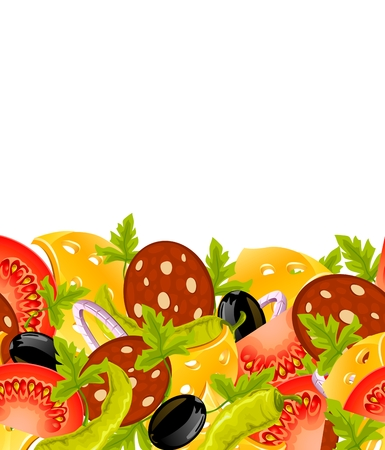natural food horizontal seamless background Vector