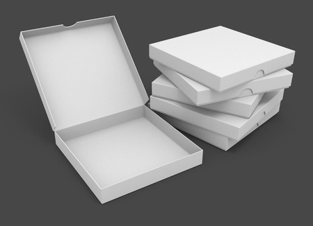 white pizza packaging boxes with blank cover for design 3d illustration isolated on grey background illustration