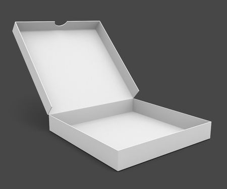 packaged: white pizza packaging box with blank cover for design 3d illustration isolated on grey background