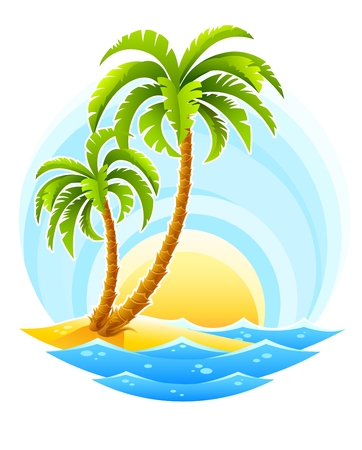coconut palm: tropical palm with sea wave on sunny background