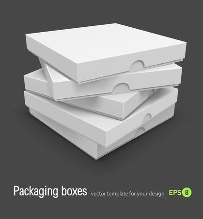 caja de pizza: cajas de embalaje con ilustraci�n vectorial de pizza aislada sobre fondo gris