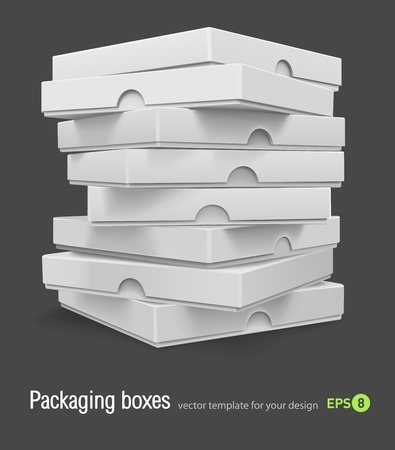 packing boxes with pizza vector illustration isolated on grey background Vector