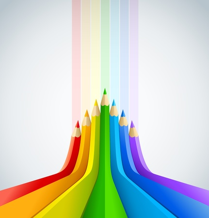 art work: abstract art background with line of colour pencil as rainbow vector illustration