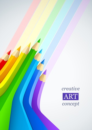 abstract art background with line of colour pencil as rainbow vector illustration Stock Vector - 9251096