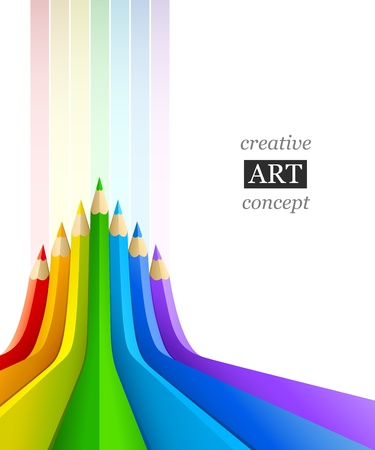 abstract art background with line of colour pencil as rainbow vector illustration Stock Vector - 9251092