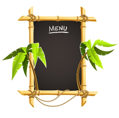 signboard: bamboo frame with tropical palms vector illustration isolated on white background Illustration