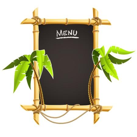 bambu: marco de bamb� con palmas tropicales vector ilustraci�n aislada sobre fondo blanco