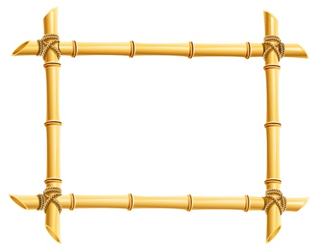 marcos decorados: marco de madera de bamb� pega la ilustraci�n aislada sobre fondo blanco