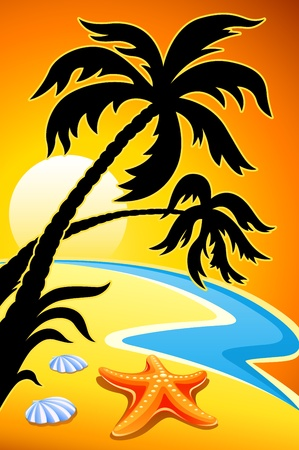 breaker: abstract landscape with sunset palm and sea star vector illustration Illustration