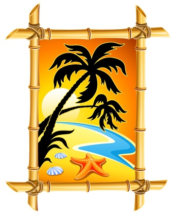 bamboo frame: abstract beach landscape with sunset and palm in bamboo frame vector illustration isolated on white background