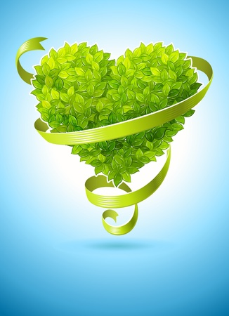 simbolo paz: concepto de ecología con corazón de hojas verdes y cinta