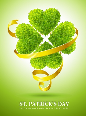 lucky clover made of green leaves and ribbon for saint Patricks day vector illustration Vector