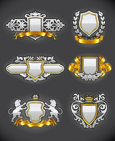 the monarchy: heraldic vintage emblems set silver and gold illustration