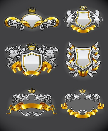 monarchy: heraldic vintage emblems set silver and gold illustration