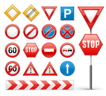sign pole: icons set of road signs illustration isolated on white background