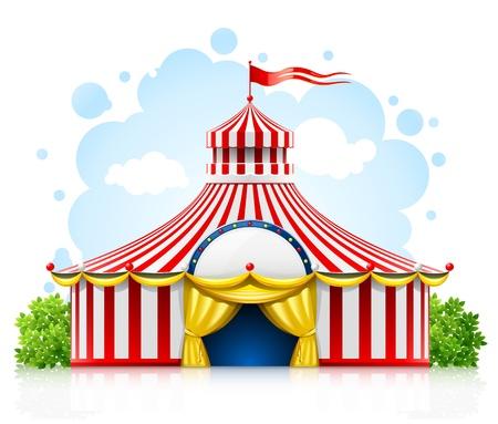 roof line: rayas paseando carpa circo de marquesina con ilustraci�n de bandera aislada sobre fondo blanco