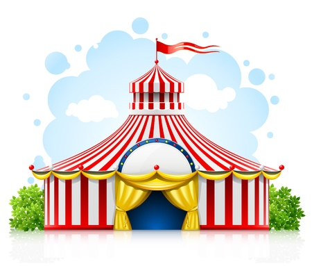 marquee tent: striped strolling circus marquee tent with flag illustration isolated on white background