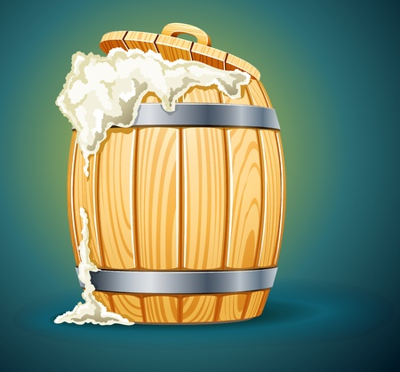 tun: wooden barrel full of beer with foam illustration isolated on white background