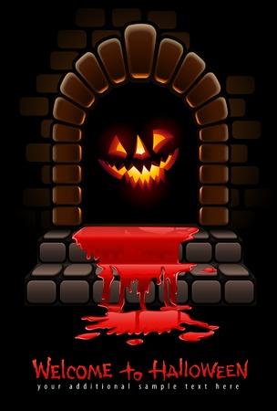 terrible: halloween terrible door bloody entrance and glowing face