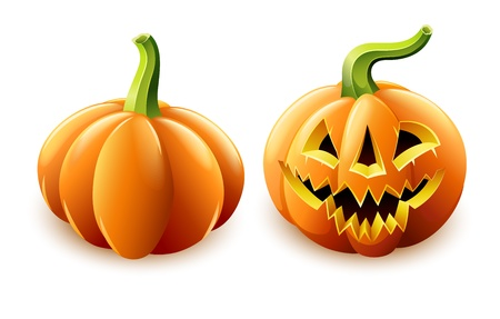 dreadful: halloween pumpkin jack-o-lantern with angry face vector illustration isolated on white background