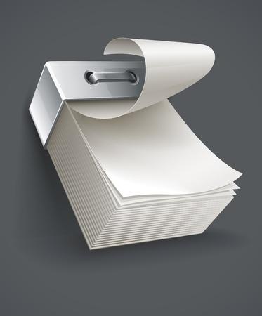one sheet: blank tear-off paper calendario illustrazione vettoriale Vettoriali