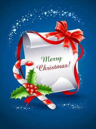 sweetmeats: tarjeta de felicitaci�n de Navidad con caramelo de ca�a de arco y hojas de acebo ilustraci�n