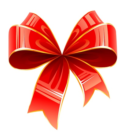 details: red bow illustration isolated on white background