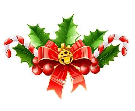holly leaf: christmas decoration of red bow with gold bell and holly leaves illustration isolated on white background