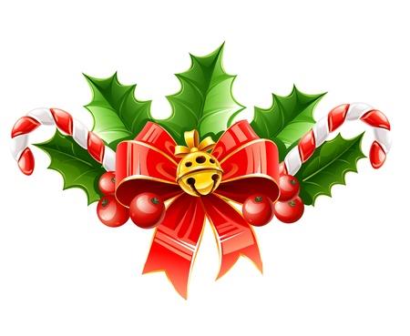 hulst: Kerst decoratie van rode strik met gouden bel en hulst laat illustratie geà ¯ soleerd op witte achtergrond