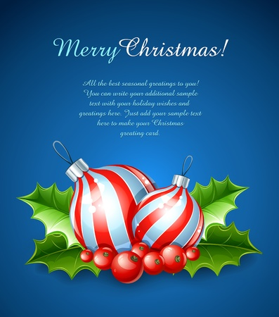 christmas decoration of ball and holly leaves illustration on blue background Vector
