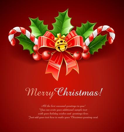 sweetmeats: decoraci�n de la Navidad del arco rojo con oro de campana y las hojas del acebo ilustraci�n sobre fondo rojo