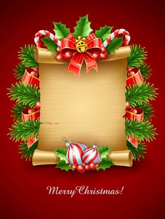 christmas holiday greetings script with decoration vector illustration Vector