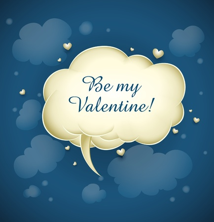 cloud with greeting message for valentines day vector illustration Vector