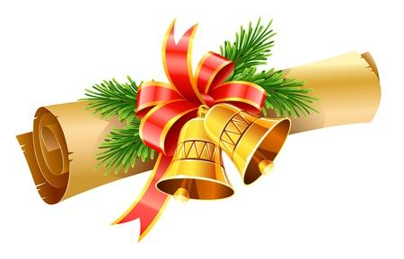 moños navideños: oro, campanas de Navidad con lazo rojo y papel desplazarse ilustración vectorial aislados en fondo blanco
