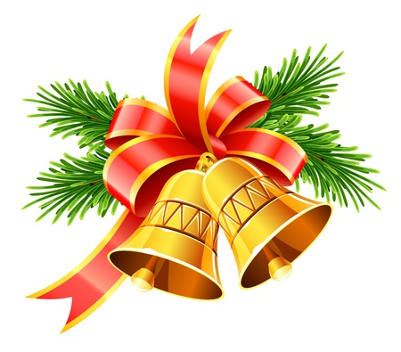 feliz navidad: gold christmas bells with red bow and fir vector illustration isolated on white background