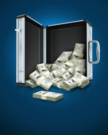 maletas de viaje: caso, con el dinero de d�lares EPS10 Ilustraci�n del concepto vectorial. Los objetos transparentes utilizados para las sombras y las luces de dibujo