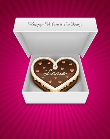 chocolate box: open box with sweet chocolate cake in heart form for Valentines Day Holiday. EPS10. Transparent objects used for shadows and lights drawing Illustration