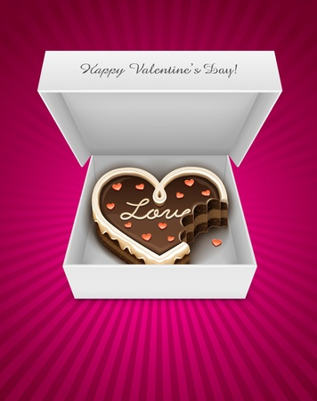 chocolate box: Open box with sweet nibbled chocolate cake in heart form for Valentines Day Holiday. EPS10. Transparent objects used for shadows and lights drawing