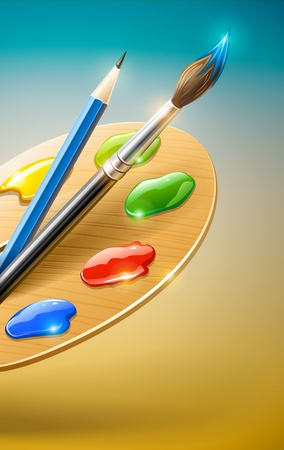 paint palette: Art palette with paint brush and pencil tools for drawing  Illustration