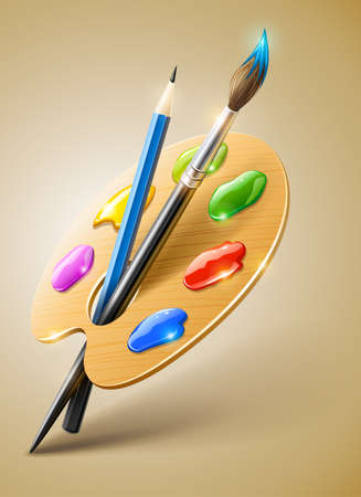 paint brush: Art palette with paint brush and pencil tools for drawing  Illustration