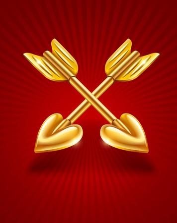 two crossed gold arrows of cupid with hearts Vector