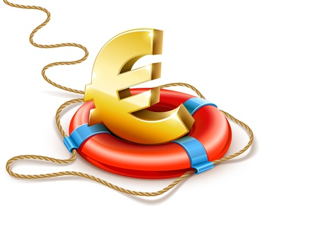 helps: life buoy rescue ring helps euro currency sign - financial crisis concept
