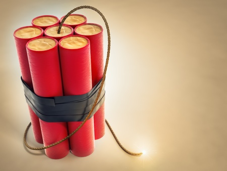weaponry: burning fuse with dynamite explosives 3d-illustration
