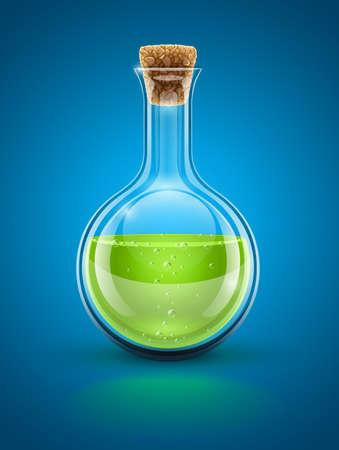 pocion: vidrio matraz química con el líquido verde tóxico e ilustración corcho. Los objetos transparentes utilizados para las sombras y las luces de dibujo Vectores