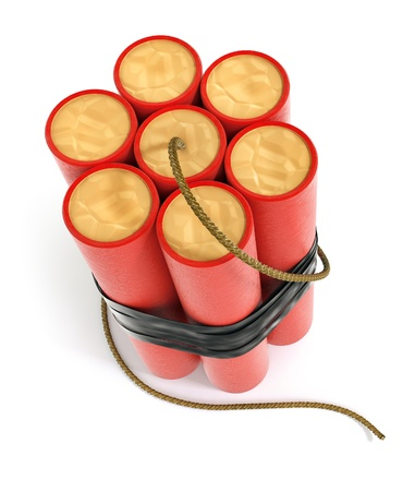 explosive dynamite sticks 3d-illustration isolated on white background with clipping path included Stock Illustration - 12422369