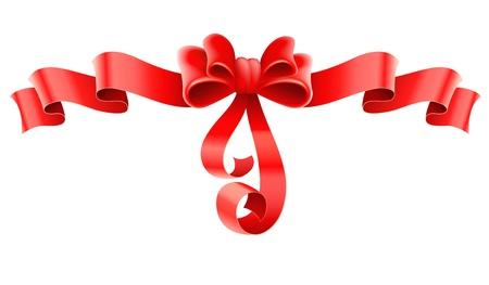 pleat: red decorative bow with ribbon. Transparent objects used for shadows and lights drawing