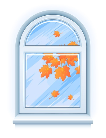 windowsill: Arch window with yellow autumn leaves and rainy weather illustration isolated on white background Illustration