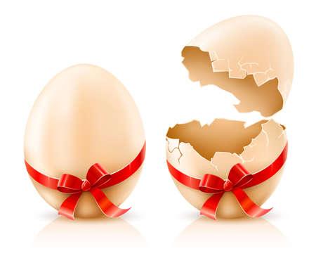poult: conchas enteras y rotas de los huevos de Pascua con la ilustraci�n lazo rojo aislado en el gradiente de malla blanca de fondo utilizado Vectores