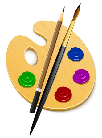 art palette: art palette and instrument for drawing illustration isolated on white background